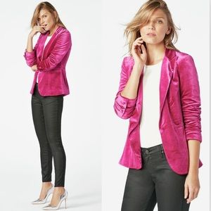 JustFab Fuchsia Velvet Blazer Single Button Jacket